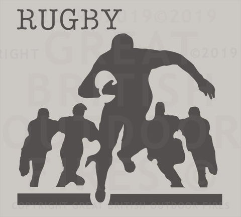 """This design features a rugby player running toward you with flanking players in the background."""