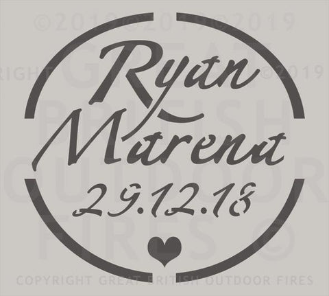 """This circular design contains the names Ryan & Marena, the date 29.12.18 and a small heart"""