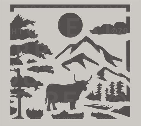 """This design features a Scottish highlands cow in the foreground, surrounded by trees with a sun, mountains, and clouds in the background."""