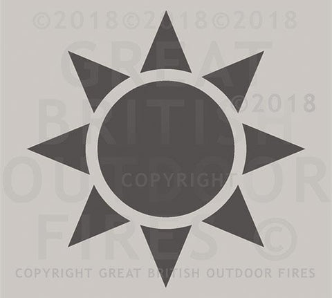 """This design is a large silhouette of a sun, with a central circle surrounded by 8 trianglular wedges representing the rays."""