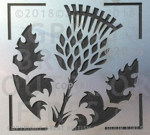 """This design has a square frame encompassing a circular design of a large thistle flower and two thistle leaves."""