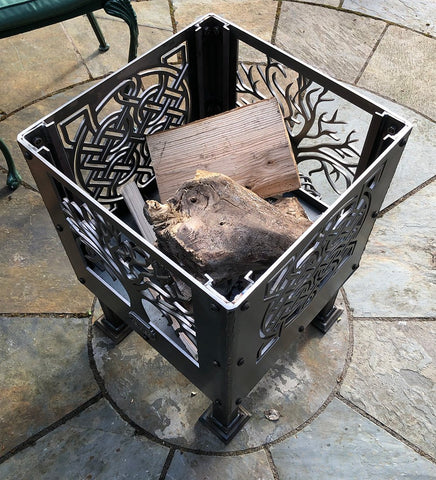 Tree of Life Square and Celtic Knot Square Fire Pit | 40/45/50cm Sizes Available