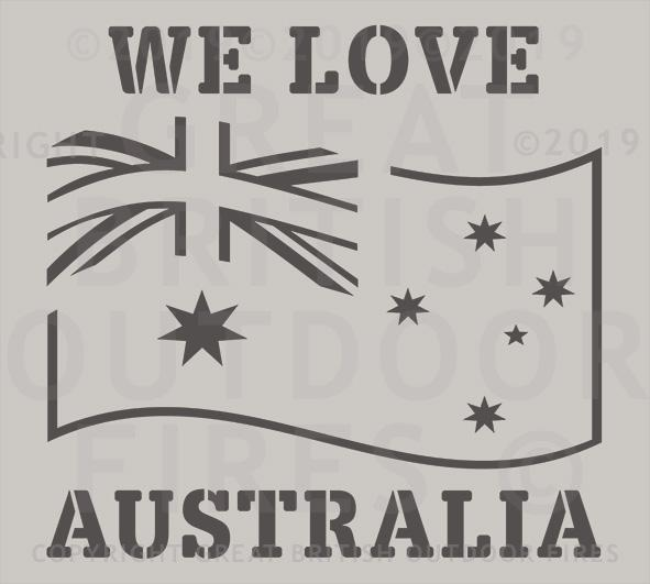"""This design depicts an Australian flag billowing in the wind, with 'WE LOVE' above it and 'AUSTRALIA' below it."""