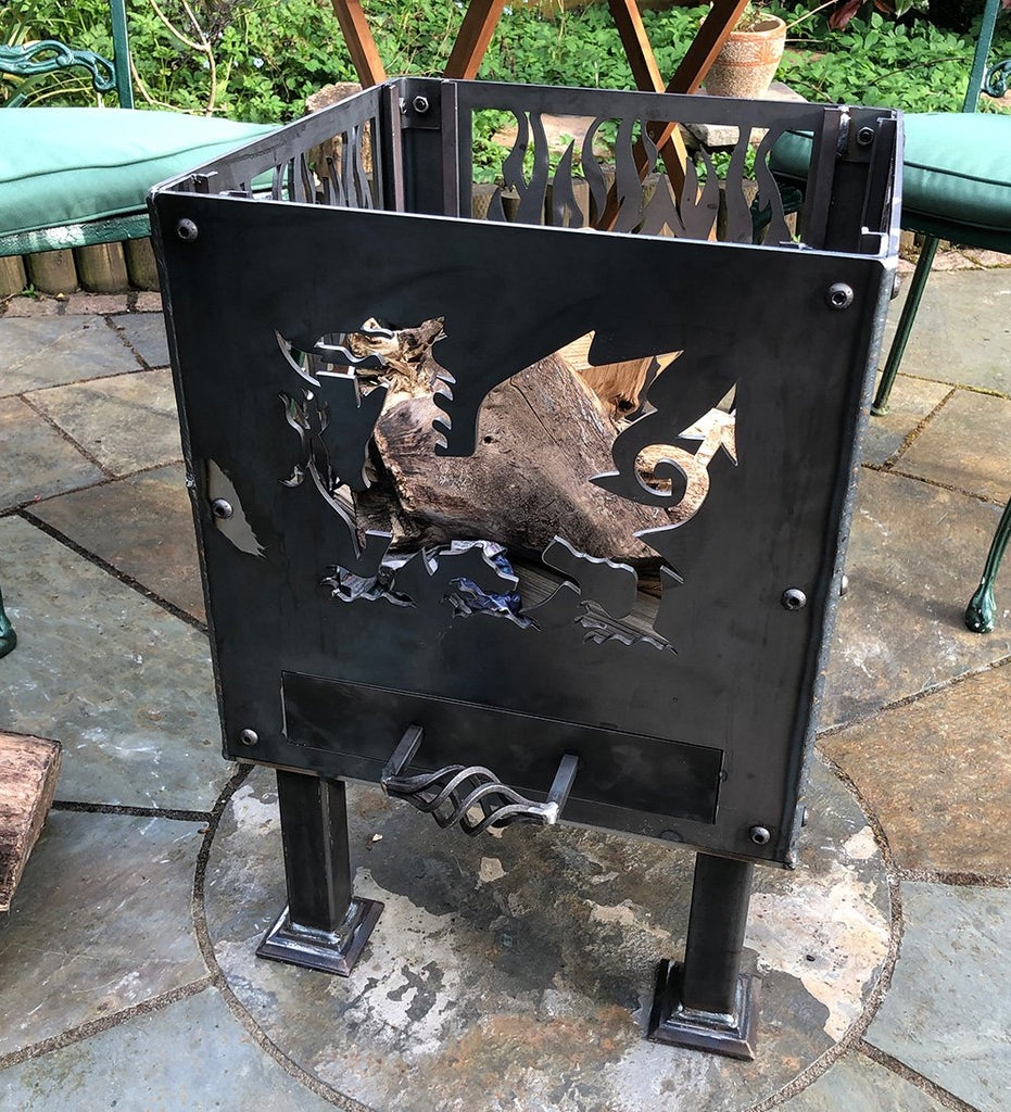 Black Powder Coated Welsh Dragon with Flames Fire Pit | 40cm Size Available
