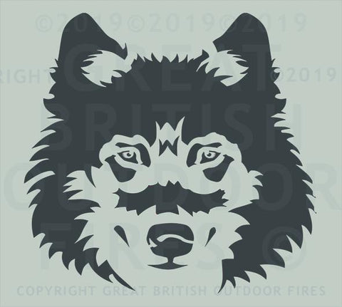 """This design is the front on view of a wolf's head."""