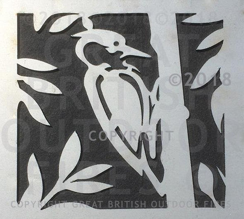 """This design features a woodpecker at the centre perched in a tree with branches and leaves around the perimeter."""