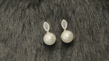 Load and play video in Gallery viewer, CAMILLA - Pave And Marquise CZ Drop Pearl Earrings In Silver