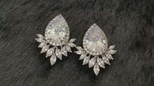 Load and play video in Gallery viewer, CLEOPATRA - Large Teardrop With Marquise CZ Earrings In Silver