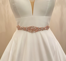 Load image into Gallery viewer, BRIDGETTE - Three-Flowered Crystal Belt Sash In Rose Gold