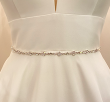 Load image into Gallery viewer, MELANIE - Delicate Slim Floral-Motif Crystal Belt Sash In Silver