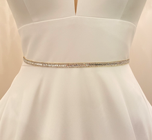 Load image into Gallery viewer, OKSANA - Polished Very Thin Crystal Belt Sash In Silver
