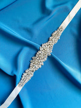 Load image into Gallery viewer, GLORIA - Dazzling Belt Sash With All-Crystal Floral Pattern Belt Sash In Silver