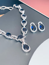 "Load image into Gallery viewer, MICHELLE - 17"" Oval Sapphire Blue CZ Stone With Matching Stud Earrings In Silver"