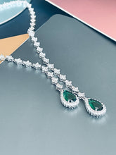 "Load image into Gallery viewer, ORIANA - 17"" Emerald Green Lariat-Look Necklace With Two Teardrop CZ Stones With Matching Drop Earrings In Silver - JohnnyB Jewelry"