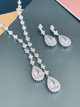 "Load image into Gallery viewer, ORIANA - 17"" Clear Lariat-Look Necklace With Two Teardrop CZ Stones With Matching Drop Earrings In Silver"