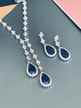 "Load image into Gallery viewer, ORIANA - 17"" Sapphire Blue Lariat-Look Necklace With Two Teardrop CZ Stones With Matching Drop Earrings In Silver"
