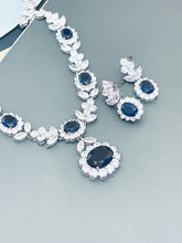 "Load image into Gallery viewer, SUZANNA - 16.5"" Sapphire Blue Oval CZ Necklace With Matching Dangle Drop Earrings In Silver"