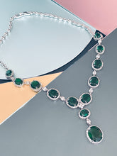 "Load image into Gallery viewer, VIRGINIA - 16.5"" Emerald Green Oval CZ Necklace And Matching Drop Earrings In Silver"