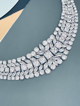 "Load image into Gallery viewer, BERENICE - 15.5"" Clear CZ Collar Necklace With Larger Square CZ Stones And Matching Earrings In Silver - JohnnyB Jewelry"