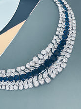 "Load image into Gallery viewer, BERENICE - 15.5"" Sapphire Blue CZ Collar Necklace With Larger Square CZ Stones And Matching Earrings In Silver - JohnnyB Jewelry"