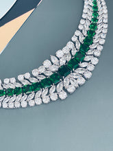 "Load image into Gallery viewer, BERENICE - 15.5"" Emerald CZ Collar Necklace With Larger Square CZ Stones And Matching Earrings In Silver - JohnnyB Jewelry"