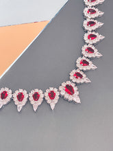 "Load image into Gallery viewer, LILIANA - 15.5"" Stunning Red Pear-Shaped CZ Choker Necklace With Matching Drop Earrings In Silver - JohnnyB Jewelry"