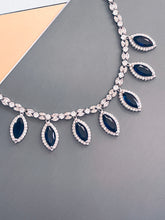 Load image into Gallery viewer, KINSLEY - Sapphire Blue Marquise-Shaped CZ And Matching Drop Earrings In Silver