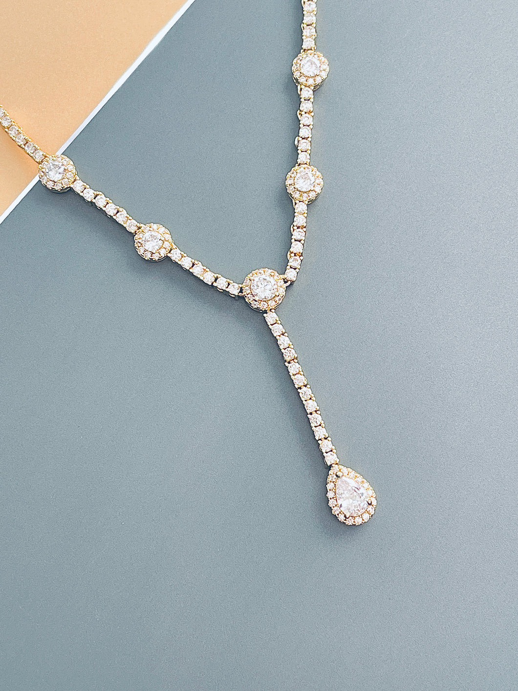 MELODY - Elegant CZ With Teardrop Stones Necklace In 14k Gold