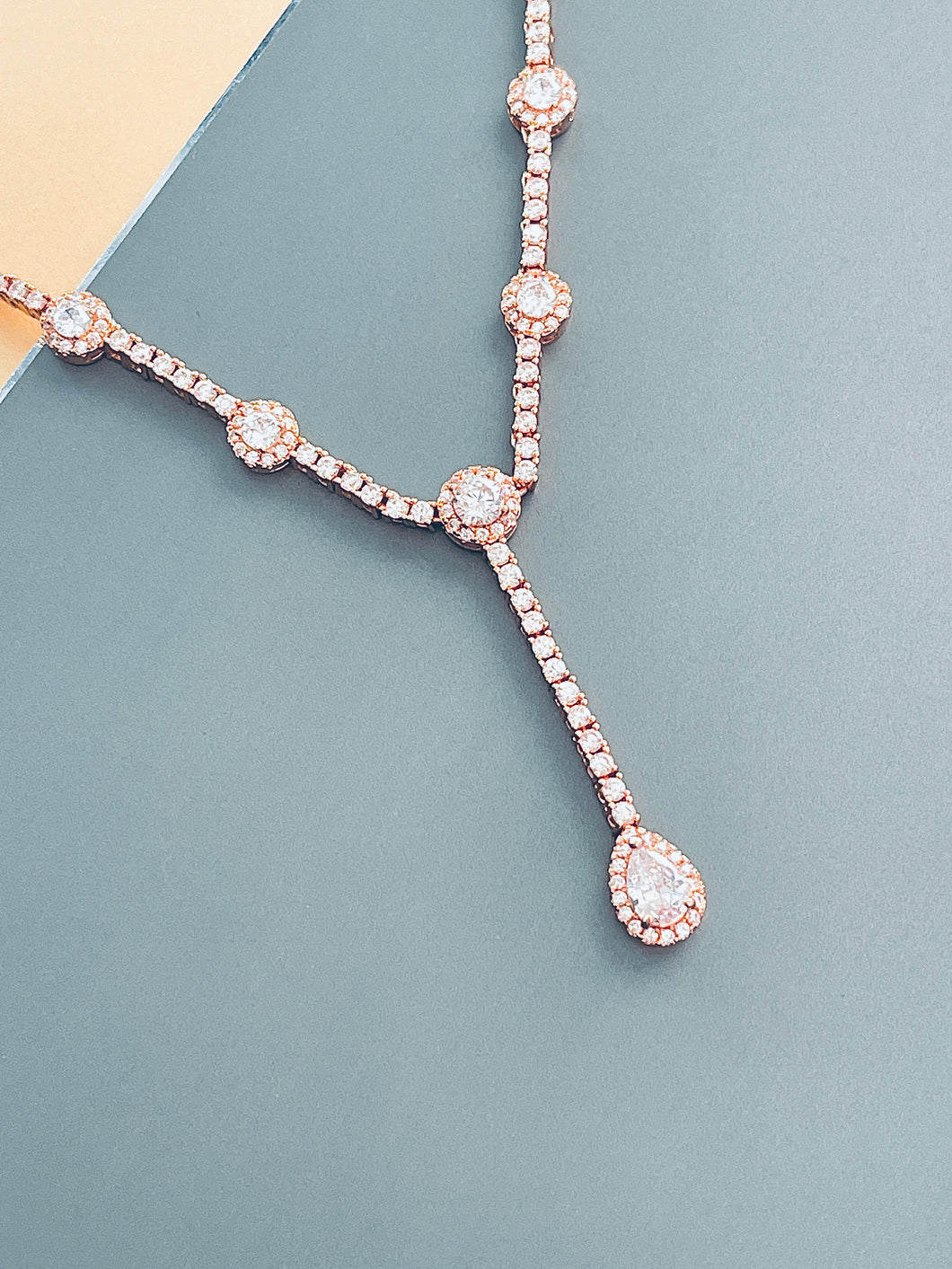 MELODY - Elegant CZ With Teardrop Stones Necklace In Rose Gold