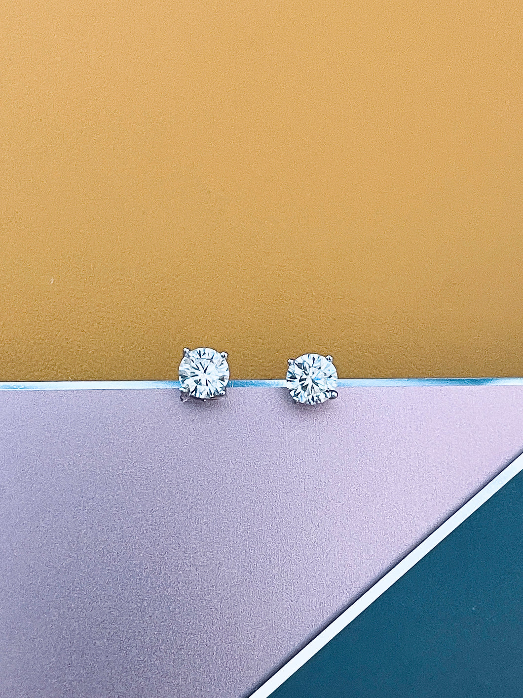 EMMA - 1ct Four Prong Setting Moissanite Stud Earrings In Silver