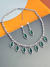 Load image into Gallery viewer, KINSLEY - Emerald Green Marquise-Shaped CZ And Matching Drop Earrings In Silver - JohnnyB Jewelry