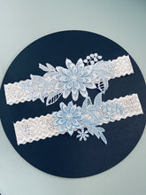 Load image into Gallery viewer, ANNE - 2Pcs Set Light Blue Lace Floral Garter
