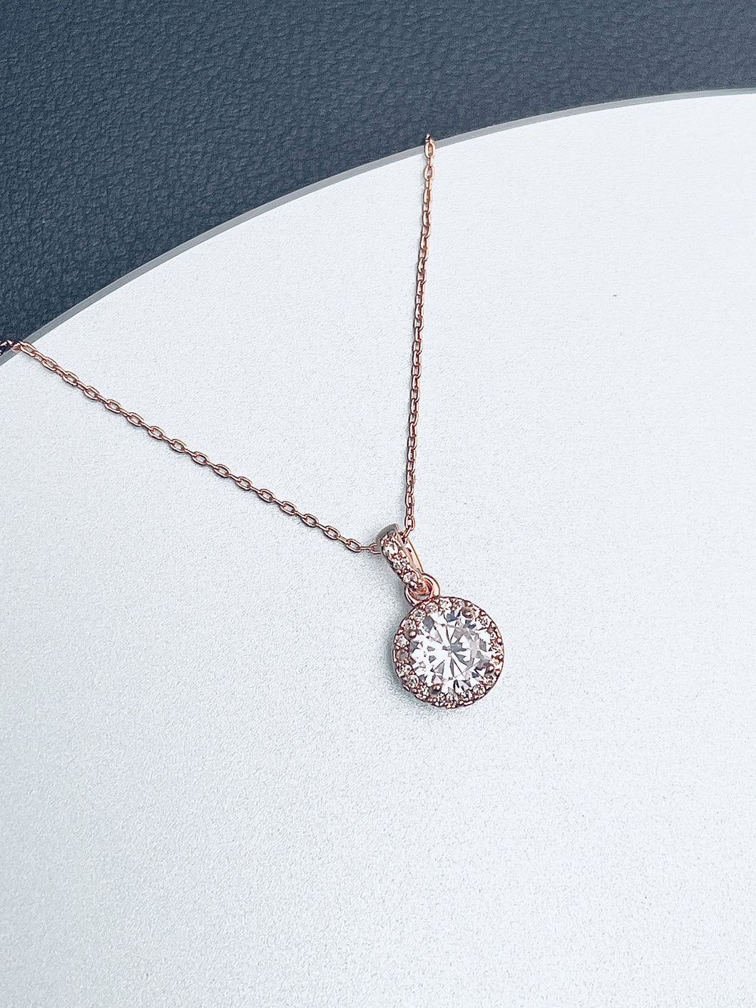 ZURI - Pendant With Round Clear CZ In A Delicate Setting In Rose Gold - JohnnyB Jewelry