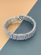 "Load image into Gallery viewer, BLYTHE - 6.5"" Glamorous Wide ""Paving-Stone"" Multiple CZs Bracelet In Silver - JohnnyB Jewelry"