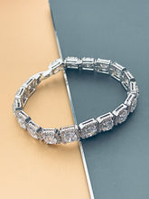 "Load image into Gallery viewer, PIPER - 7"" Larger Round CZ Stones In Square CZ Setting Bracelet In Silver - JohnnyB Jewelry"