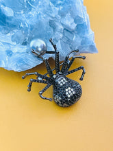 Load image into Gallery viewer, MARGEURITE - Black-Yellow CZ Spider With Grey-Blue Pearl Brooch Pin In Black