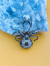 Load image into Gallery viewer, MARGEURITE - Black-Clear CZ Spider With Grey-Blue Pearl Brooch Pin In Black