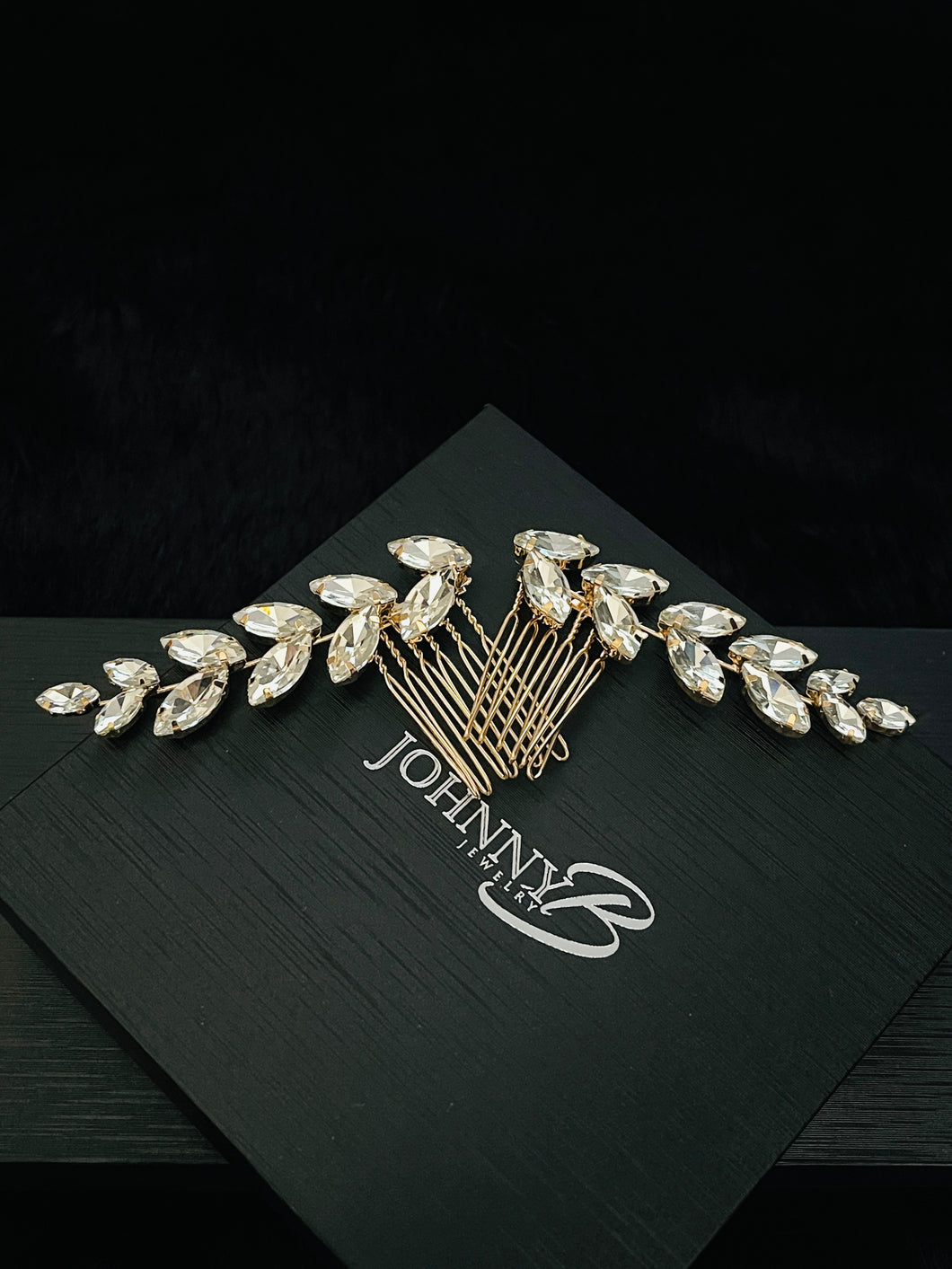 NAIOMI - 2Pcs Set Marquise Crystal Flower Hair Comb In Gold