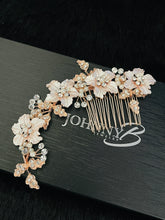 Load image into Gallery viewer, ZELENA – Large Flowers With Rhinestone Leaves Hair Comb In Rose Gold