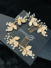 Load image into Gallery viewer, FREYA - Gold Leaves With Pearl Sprays Double Hair Combs In Gold