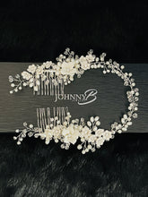 Load image into Gallery viewer, NADIA - Delicate White Flowers, Pearls And Crystals Double Hair Combs In Silver - JohnnyB Jewelry