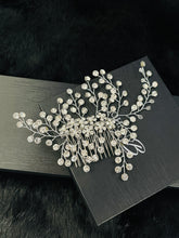 Load image into Gallery viewer, LUCIA - Pearl And Rhinestone Flowers Hair Comb In Silver