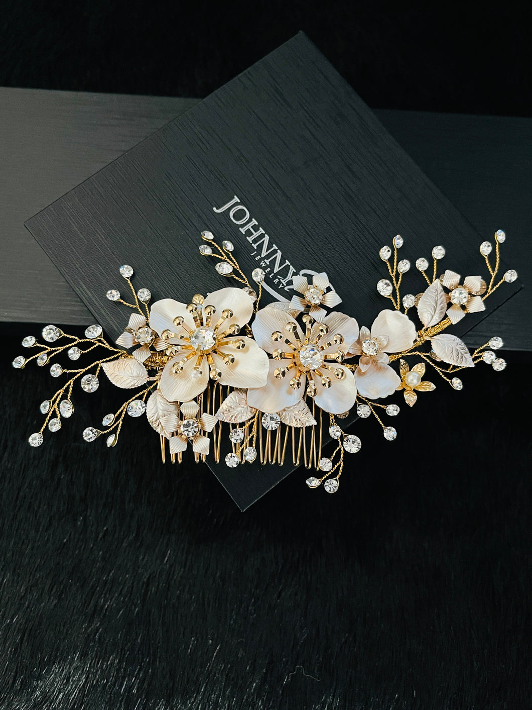 PRISCILLA - Large Flowers With Crystal Sprays Hair Comb In Gold
