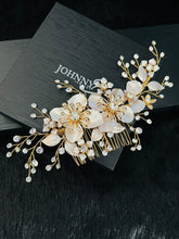 Load image into Gallery viewer, PRISCILLA - Large Flowers With Crystal Sprays Hair Comb In Gold