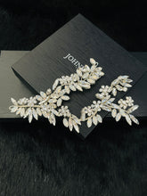 Load image into Gallery viewer, CECELIA - Opal Crystal Flowers Double-Strand Hair Piece In Silver