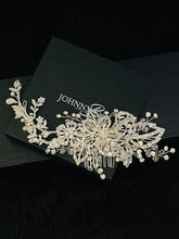 Load image into Gallery viewer, JULIA - Floral Pearl And Crystal Hair Piece In Silver - JohnnyB Jewelry