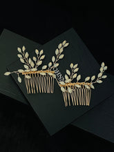 Load image into Gallery viewer, VANESSA - 2Pcs Set Opal Crystal Flower Hair Combs In Gold
