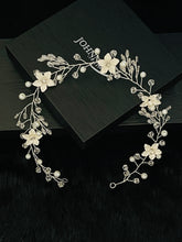 Load image into Gallery viewer, TULLA - White Flower With Crystal And Pearls Hair Piece In Silver