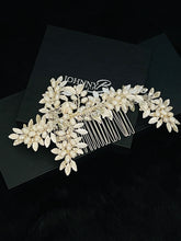 Load image into Gallery viewer, DOMINICA - Metal Silver Leaves With Freshwater Pearl Berries Hair Comb In Silver