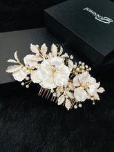 Load image into Gallery viewer, NOVA - Fancy Triple Flower With Crystal And Pearl Hair Comb In Gold